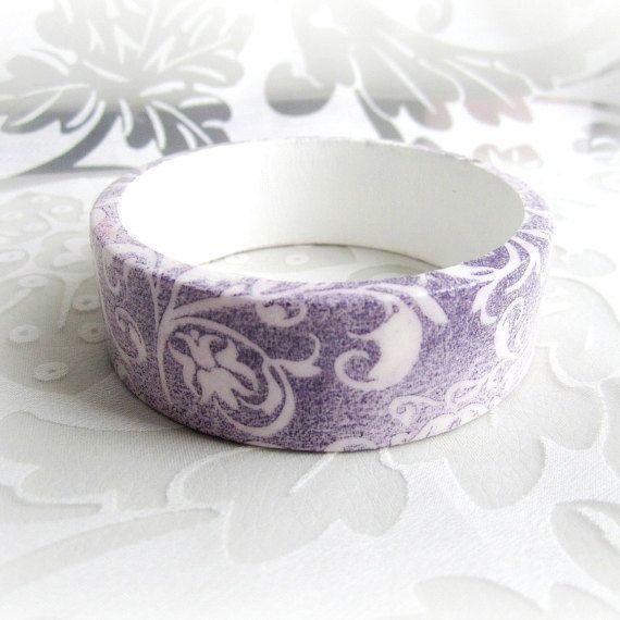 Wooden bracelet bangle shabby chic bracelet violet by GattyGatty