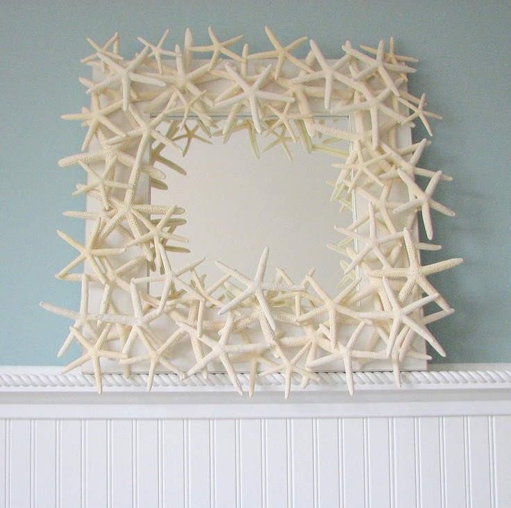 Beach Decor Starfish Mirror -  Shell Mirror - Starfish Seashell Mirrors w White Starfish. $275.00, via Etsy.