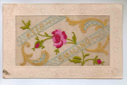 WWI Embroidered French Silk Postcard 'Keep Smiling' by Tigrisa, £15.00