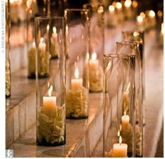 7: Tables Sets, Floating Candles, Teas Lights, Parties Ideas, Church Decor, Cream Rose, Candles Ideas, Rose Petals, Tall Vase