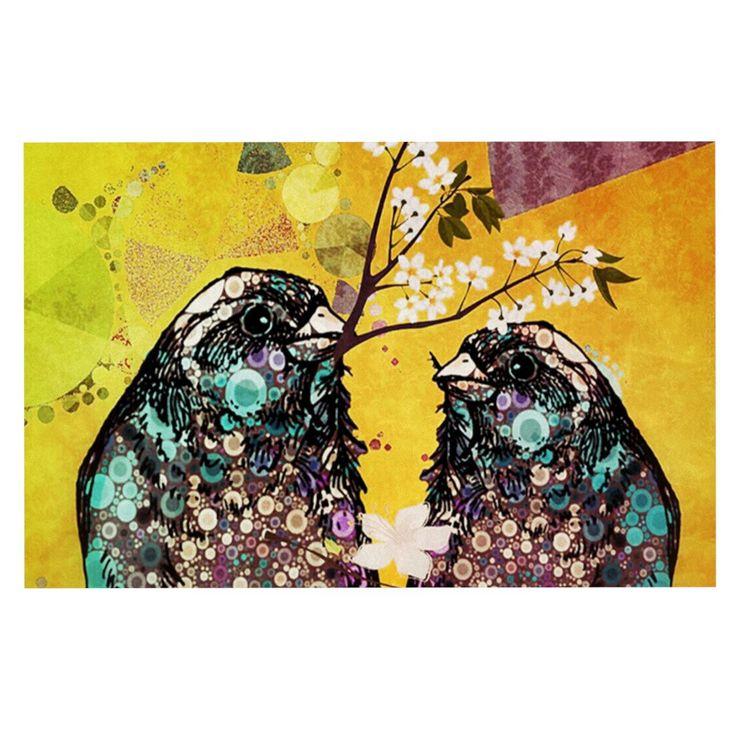 """alyZen Moonshadow """"Birds In Love Yellow"""" Orange Gold Decorative Door Mat"""