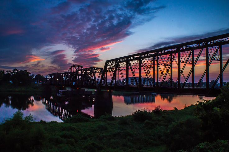 The old railroad bridge across the Ouachita River between ...