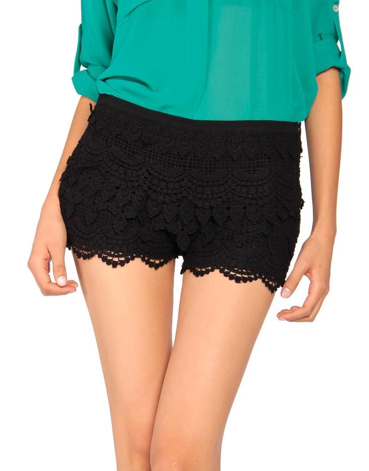Zip Up Crochet Shorts