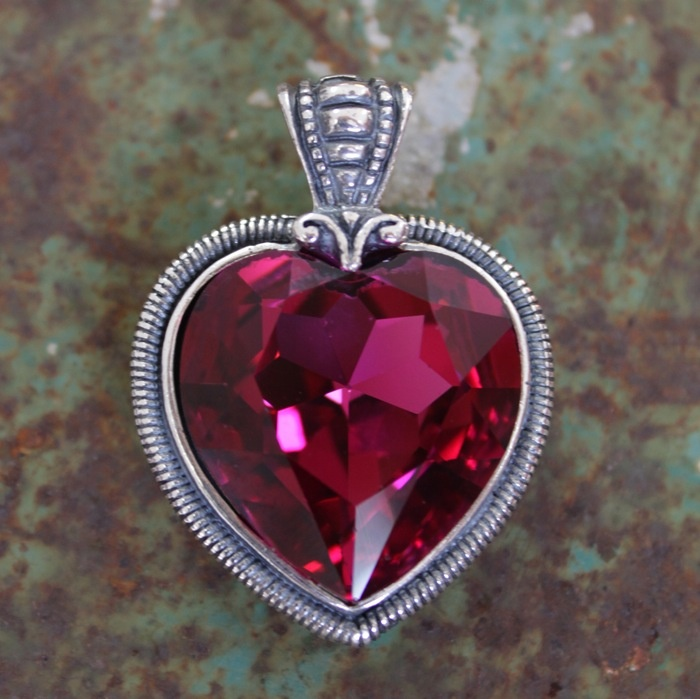 EN924 Spellbinding fuchsia Swarovski crystal and burnished silver heart enhancer with intricate setting MADE WITH SWAROVSKI CRYSTAL ELEMENTS
