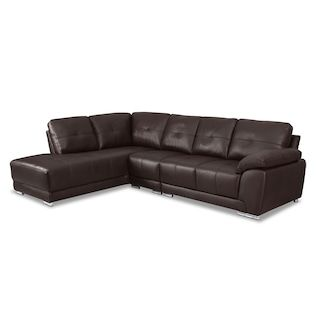Create a modern, chic lounging space with the versatile Morty sofabed sectional. Beautiful, brown bonded leather upholstery gives your home a breath of fresh air at a great value. Invite your friends and family to relax on high-density foam cushions, which are reinforced with a durable seat support system. Plus, you will always have room for overnight guests with the full-size sofa bed.