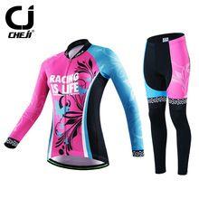 US $41.26 2016 Cheji Long Sleeve Cycling Clothing Women Bike Jersey Set Ropa invierno Ciclismo Quick Dry Cycling Jersey Bicycle Sportswear. Aliexpress product