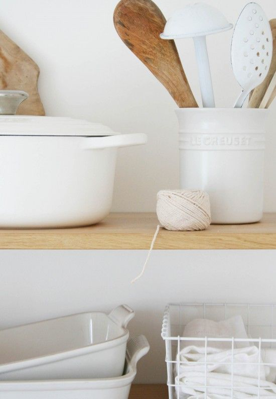 Cotton white Le Creuset from Houseology | Stoneware | Styling neutrals | Open shelving in kitchen | String Shelving