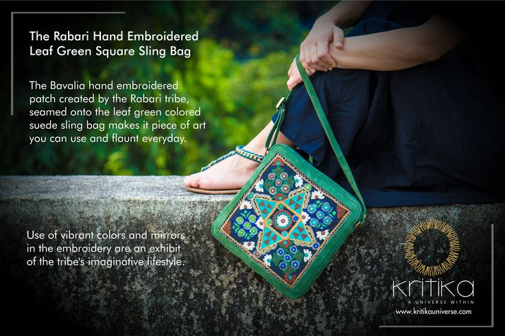 The Rabari Hand Embroidered Leaf Green Square Sling Bag The Bavalia hand embroidered patch created by the Rabari tribe, seamed onto the leaf green colored suede sling bag makes it piece of art you can use and flaunt everyday. Use of vibrant colors and mirrors in the embroidery are an exhibit of the tribe's imaginative lifestyle. Connect on +91 9820530692 / 9820530664 or mail on sonal@kritikauniverse.com #kritikasuniverse #rabari #hand #embroidered #slingbag