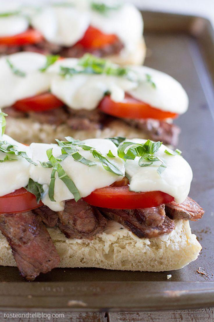 Delicious Summer Open Face Caprese Steak Sandwich
