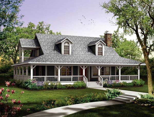 country farmhouse elevation of plan 90280 - Farmhouse Plans