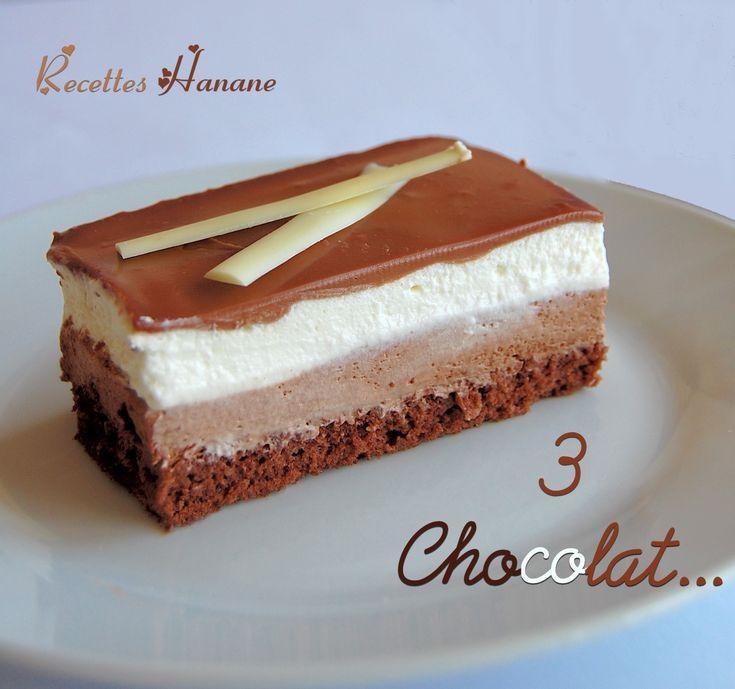 Un classique chocolaté très apprécié! 3 couches gourmandes: une mousse au chocolat noir, une deuxième mousse au chocolat blanc et une ganache douce au chocolat au lait.. et tout ça, sur une génoise aux amandes. Je l'ai préparé dans un cadre pâtissier...