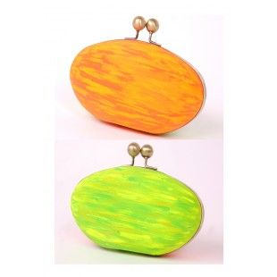 Innshoppe | Clutch. Neon Clutch. Hand Painted Clutches. Buy Nature In NEON HANDPAINTED Box Clutch. Buy Woman Clutches online Our take on environment neon style ! Hand-painted neon colors- fiery orange & earth green, show your love for nature ! Comes with a chain handle.