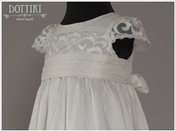 Silk Christening Gown  Baptism Dress Blessing by DOTTIKI on Etsy