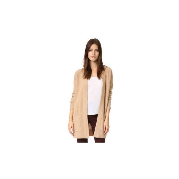 Vince Boiled Cashmere Robe Cardigan ($495) ❤ liked on Polyvore featuring tops, cardigans, cashmere cardigan, cardigan top, beige long sleeve top, cashmere top and vince tops