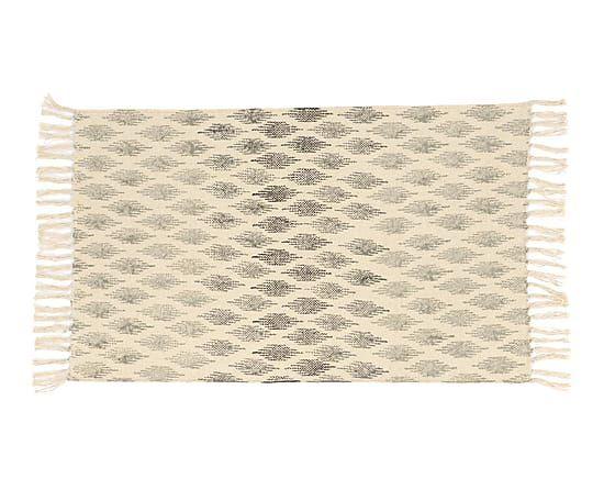 Alfombra de algodón Alina, crema y gris - 80x120 cm