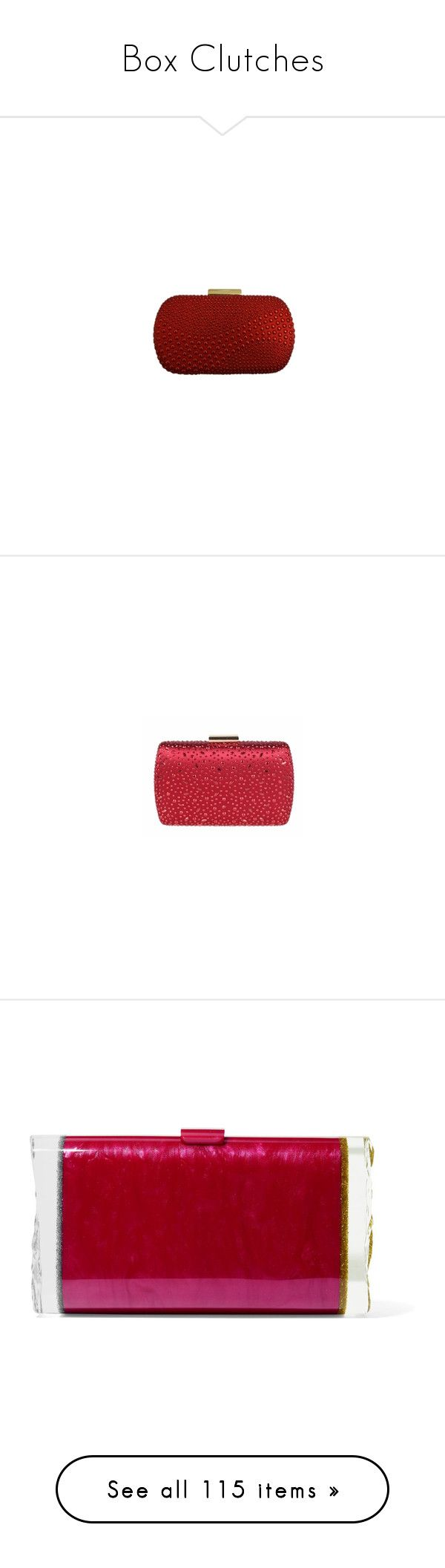 """Box Clutches"" by romaboots-1 ❤ liked on Polyvore featuring bags, handbags, clutches, red evening purse, evening purses, crystal purse, crystal handbags, bridal purse, sequin handbags and sequined clutches"
