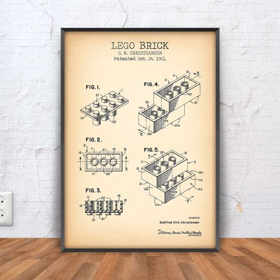 LEGO BRICK patent print lego poster lego blueprint by PrintPoint