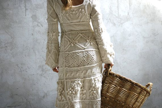 Offwhite hand knit dress  wedding dress  custom order by Muza, $800.00