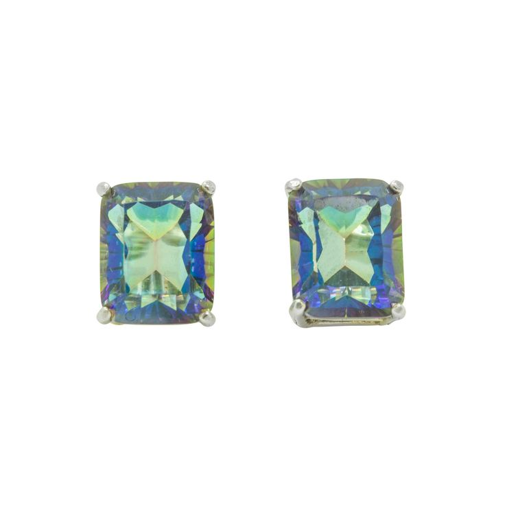 Magic Blue Quartz Emerald Cut Sterling Silver Stud Earrings by ElizabethEverettJ on Etsy