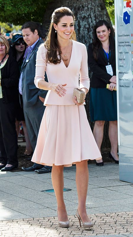 Kate Middleton's Most Memorable Outfits Ever! - April 22, 2014 Middleton shined in on-trend pale pink separates by Alexander McQueen during a stop in South Australia, which the style maven paired with her ever-favorite L.K. Bennett nude pumps and a woven clutch, also by the brand.