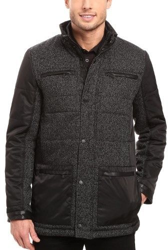 Calvin Klein Mixed Media Quilted Full Zip Car Coat Grey and Black Large L
