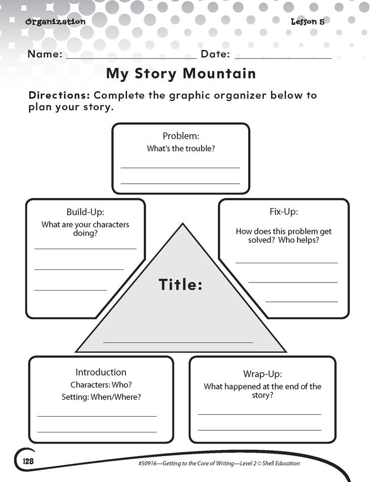 Elements Of Fiction Worksheet My Story Mountain
