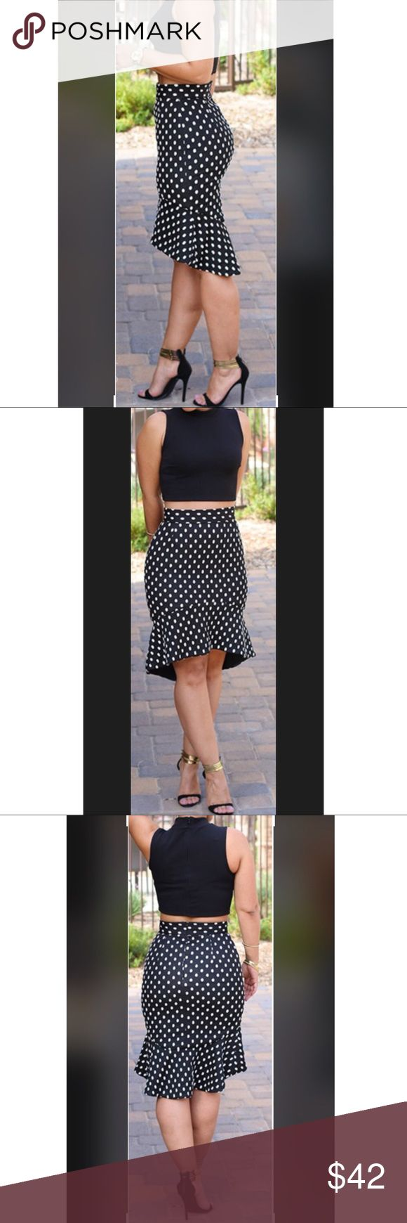 New| POLKA DOT BLACK TRUMPET SKIRT Polyester. Spandex. Zipper in rear. A beautiful skirt for so many occasions. Work. Date. Girls N O. Concert. Cocktails. Wedding. Graduation. Anniversary. Cruise. 51Twenty Skirts