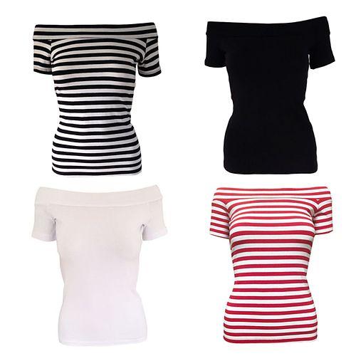 Black and White Stripe 'Bardot' Top