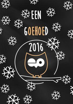 Grappig uiltje met de tekst 'een goehoed 2016' in krijtbordstijl. Wens iemand een goed nieuwjaar met deze leuke kaart.  Design: Iets fraais  Te vinden op: www.kaartje2go.nl  Maak jouw eerste kaart op onze website nu gratis!