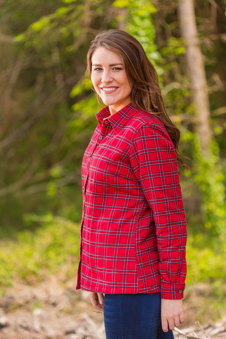 Collar Shirts Eskra Fleece Lined Flannel Ladies Red Tartan - Royal Stewart (LV27)  #flannelnightgowns #fabulousflannel #collarlessshirt #aranjumpers #granddadshirt #collarless #irishflannel #leevalleyireland #shopirish #flannelshirts