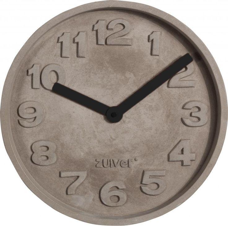 Klok Concrete Time - Zwart - Zuiver