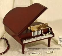 Boîtes à bijoux musicales en bois sans ballerines Boîte à bijoux musicale sans ballerine : boîte à bijoux musicale en forme de piano à queue