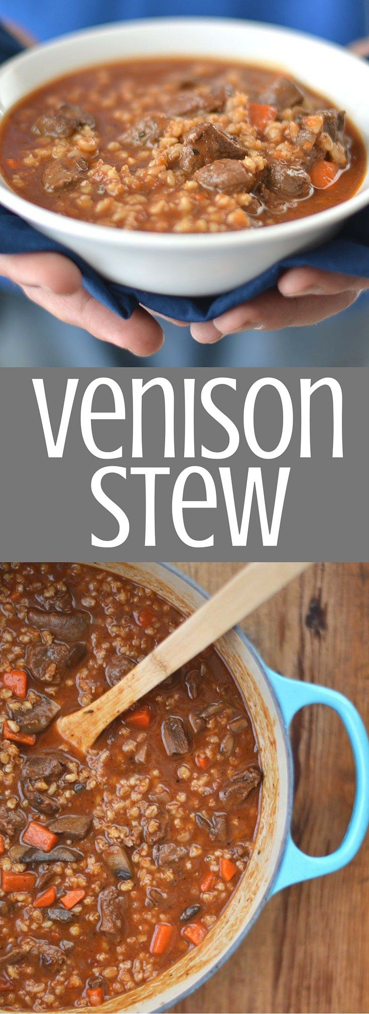 Venison Stew | Chunks of fresh venison simmer for hours with barley, carrots, mushrooms, wine, and beef stock to create this comforting and hearty venison stew. This is cold weather comfort food at it's best! Clickthrough for the full recipe and pin for later.