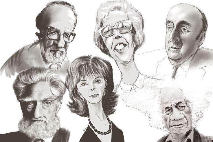 José Donoso, Marcela Paz, Pablo Neruda, Francisco Colohane, Isabel Allende, Nicanor Parra.
