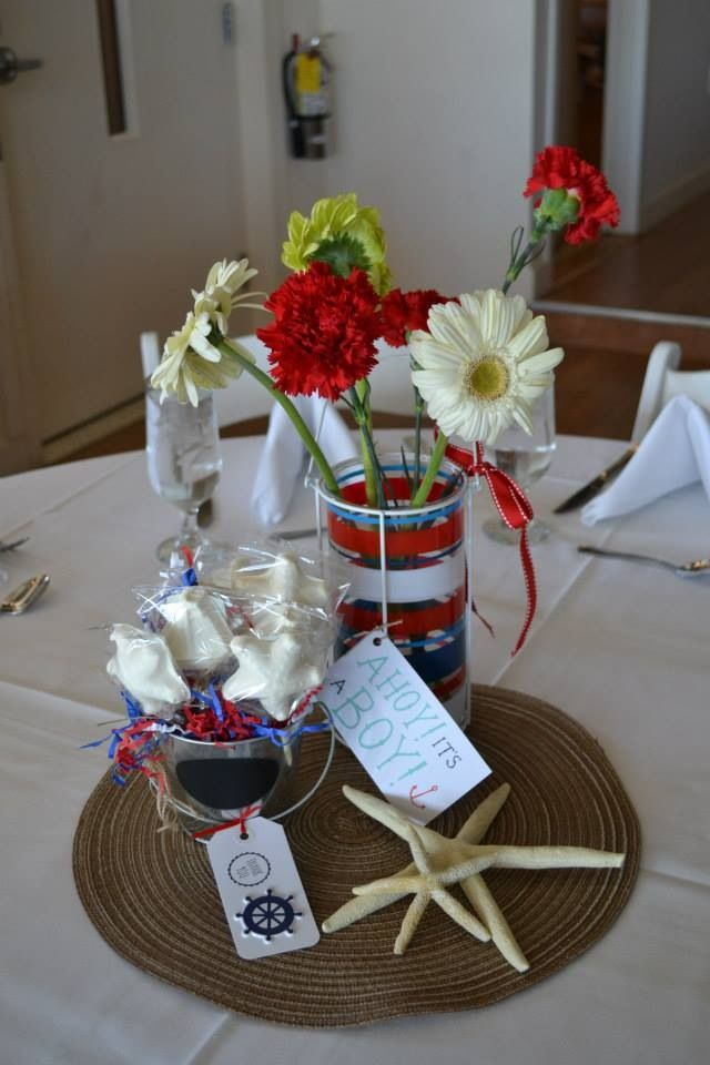Nautical baby shower centerpieces baby shower for Baby shower nautical decoration