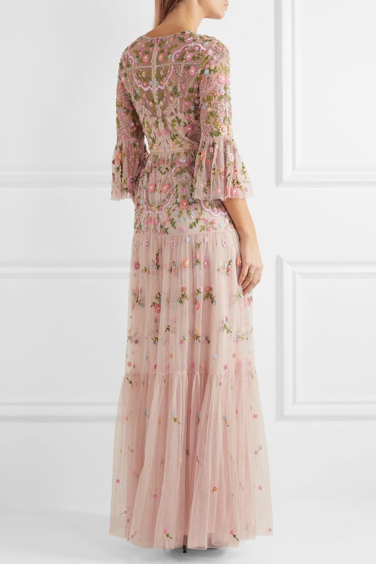 Needle & Thread | Dragonfly embellished embroidered tulle maxi dress | NET-A-PORTER.COM