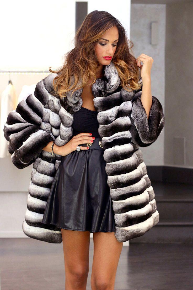 Black Velvet Chinchilla Fur Coat