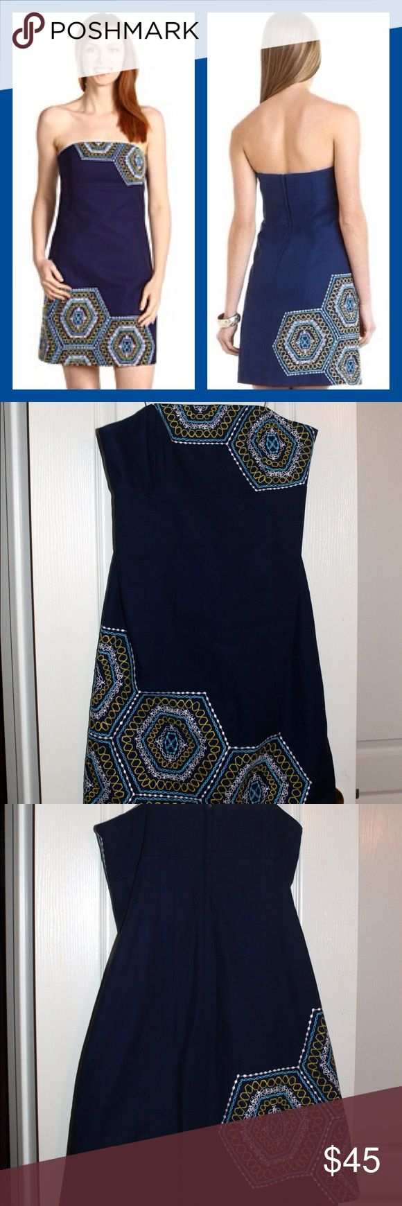Lilly Pulitzer Bowen Honeycomb Home Dress Lilly Pulitzer strapless dress in bright navy. Has an empire silhouette and beautiful embroidery. It is in great condition and was only worn a handful of times! Lilly Pulitzer Dresses Strapless
