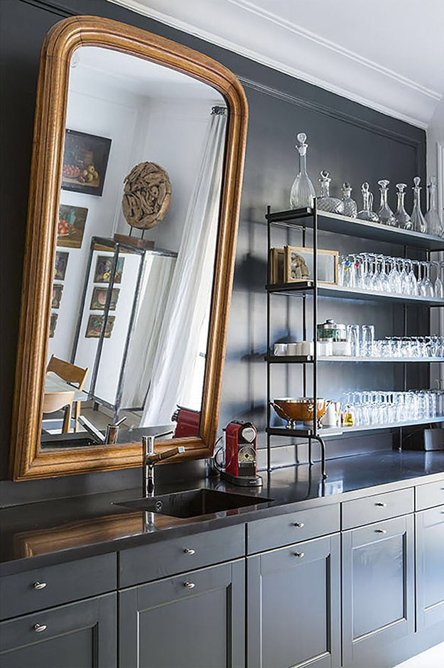 Beautiful Bar Back Mirror Shelves
