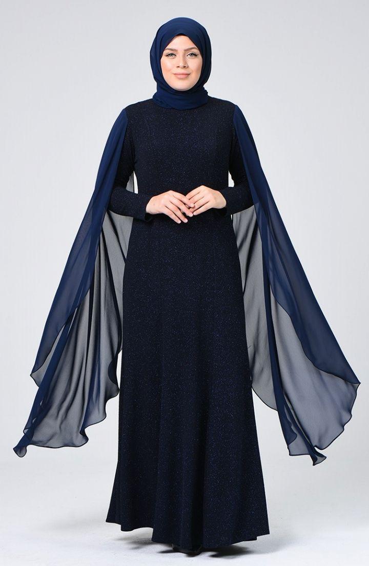 Sefamerve Buyuk Beden Simli Abiye Elbise 1311 02 Lacivert 2020 Islami Giyim Elbise The Dress