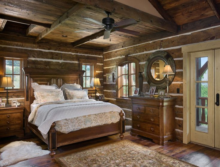 Milled log master bedroom idaho timber frame and milled for Log home master bedrooms