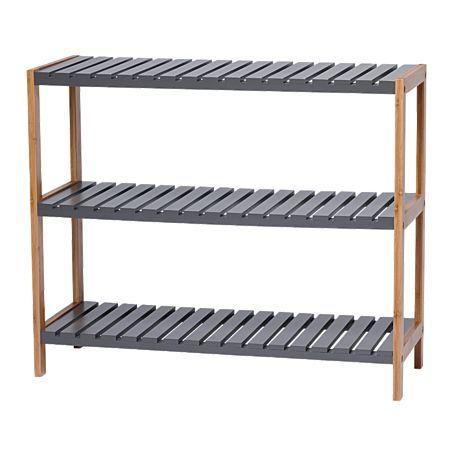 Sort It Bamboo 3 Tier Shoe Rack Charcoal