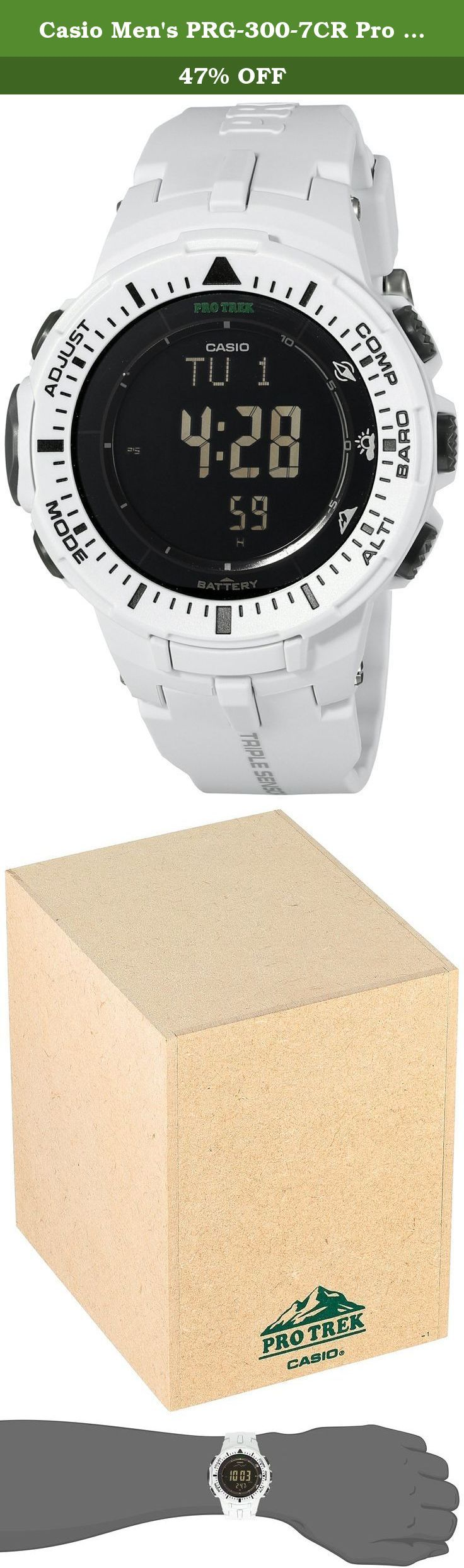Casio Men's PRG-300-7CR Pro Trek Digital Watch with White Band. Features. Band Type - Resin. Color - White. Dial Code - Digital. Tough Solar Power. 100 M Water Resistant. Low Temperature Resistant -10 C 14 FSpecification. Altimeter. Measuring range - -700 to 10000 m.. Measuring unit - 1 m.. Manual memory measurements up to 30 records each including altitude date time. Auto log data Highlow altitudes auto cumulative ascent and descent. Trek log data up to 14 records of highlow altitudes…