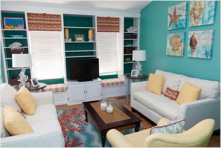 Aqua Beach Themed Living Room Thanks To Lisa Wolfe Design Ltd At