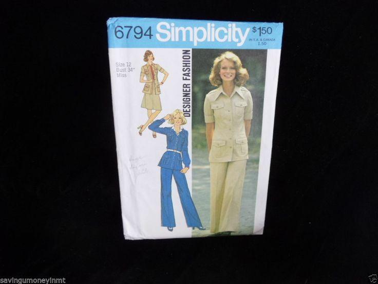 Simplicity 6794 Miss sz 12 Designer Fashion Vintage 1974 pant suit pattern