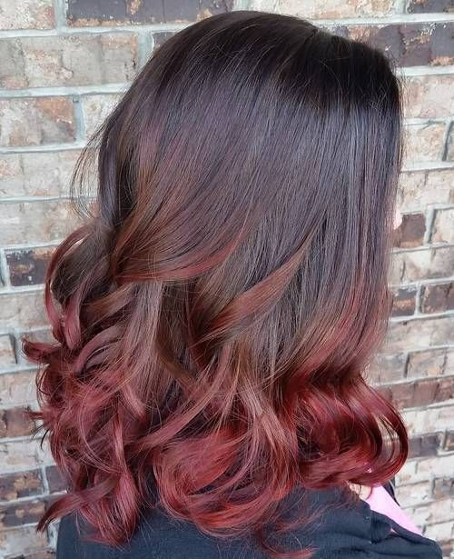Best Ombre Hair Color Ideas - Dark red ombre hair – burgundy ombre for medium length black hair