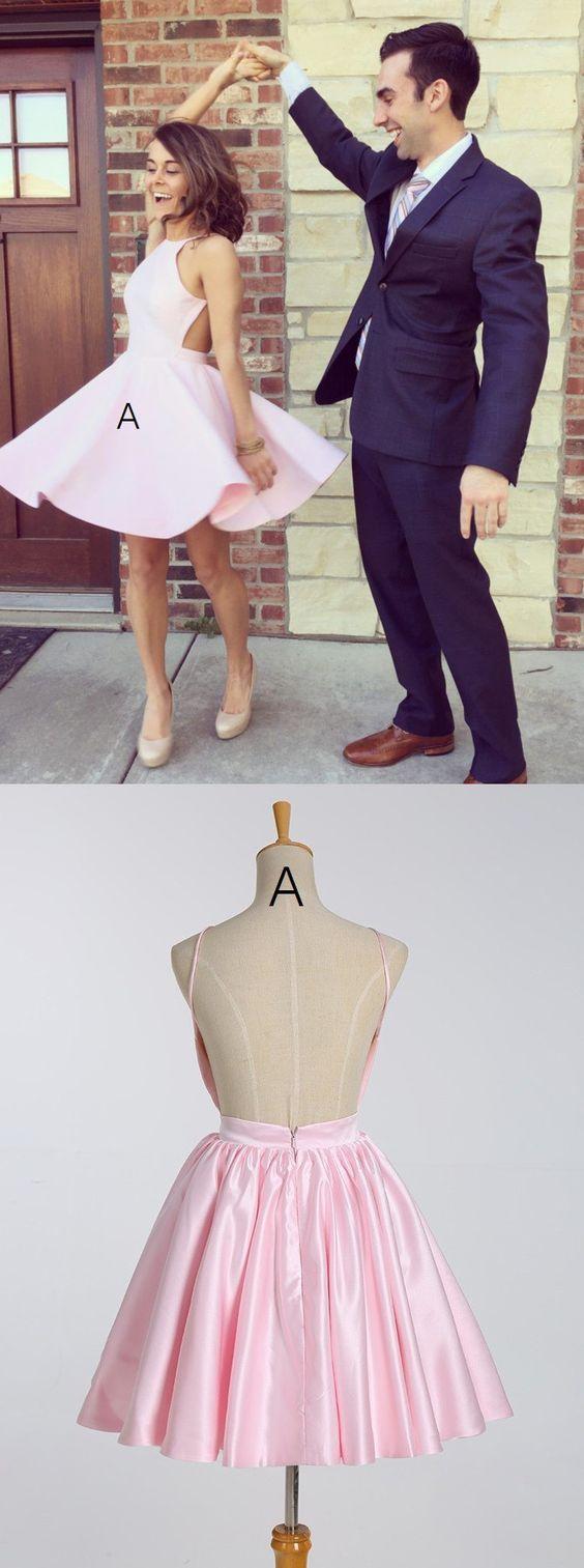 Cute Pink Short Homecoming Dress under 100 - Thumbnail 1