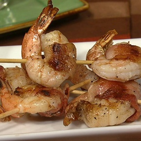 Carla and Clinton's Bacon-Wrapped Grilled Shrimp with Dijon Butter Sauce: This dish comes together in minutes and tastes amazing!