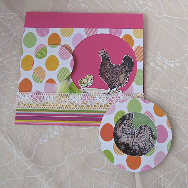 Pink Easter card and shaker