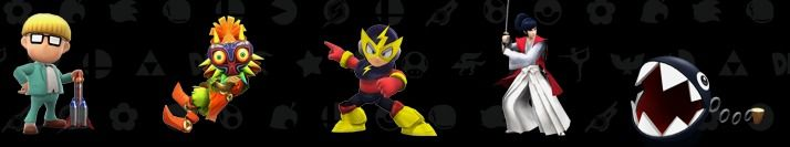 assist trophies: Jeff from Mother, Skull Kid of Legend of Zelda, Electro Man from Mega Man, Takamaru and Chain Chomp from Super Mario Bros - Super Smash Bros., Wii U